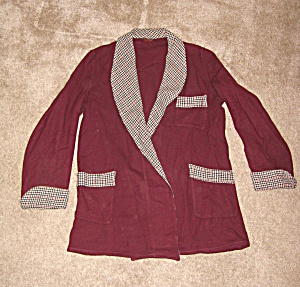 1950s Wool Smoking Jacket w/houndstooth (Image1)