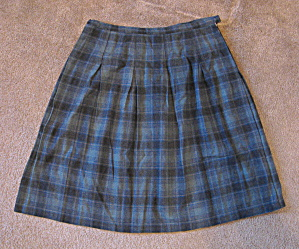 1960s Green Plaid Wool Skirt, Xl