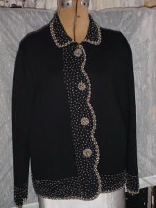 Vintage black wool beaded sweater (Image1)