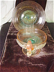 Vintage Venetian Art Glass Sherbert and Plate (Image1)