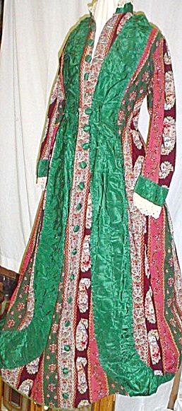 Antique 1870's Bustle Dress Multi-Colored  (Image1)
