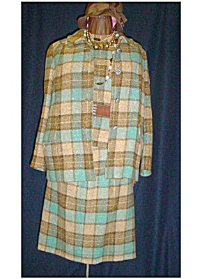 Pendleton Blue Plaid 3-Piece Suit 1960's Wool (Image1)
