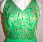 Click to view larger image of 1950's  60's Green Chiffon & Brocade  Dress (Image2)