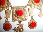 Click to view larger image of Unusual Vintage Cinnabar  Festoon Necklace  (Image3)