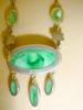 Click to view larger image of Art Deco Green Drop Silver Necklace (Image3)