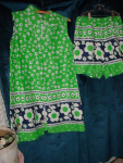 Bright green summer two piece shorts set
