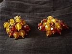 Brown Amber Yellow Beaded Clip Earrings