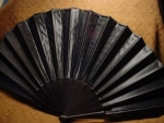 Click here to enlarge image and see more about item fanh2: Victorian Black Satin Mourning Fan