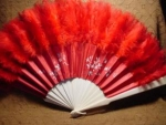 Click here to enlarge image and see more about item fanh4: Victorian Ivory, Red Satin and Feather Fan