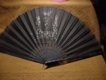 Click here to enlarge image and see more about item fanh5: Victorian Black Sheer Sequinned Fan