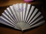 Click here to enlarge image and see more about item fanh7: Victorian Ivory and Satin Fan