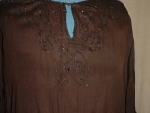 Click here to enlarge image and see more about item fh8001: 1920's Sheer  Brown Beaded Blouse