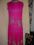 Click to view larger image of Deep Pink, Gold Lace Beaded Flapper Dress (Image1)