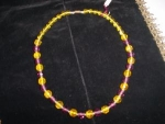 Purple and Yellow glass bead necklace