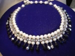Hobe bead and rhinestone necklace