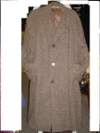 Click here to enlarge image and see more about item mcb002: Vintage mens brown tweed topcoat