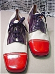 Click here to enlarge image and see more about item mensb01: Vintage Carlo Leoni Red,White & Blue  Shoes