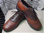 Click here to enlarge image and see more about item mensb04: Vintage Mens two tone brown saddle shoes