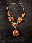 Click to view larger image of Coral and Gold Tone Rose Drop Necklace (Image1)