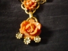 Click to view larger image of Coral and Gold Tone Rose Drop Necklace (Image2)