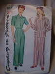 Click here to enlarge image and see more about item patkk10: 1940's Simplicity #4757 Pajama Pattern