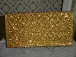 Click here to enlarge image and see more about item pb2013: Gold sequin evening clutch