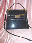 Vintage dual handle black patent leather bag