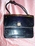 Click to view larger image of Vintage Patent leater Black handbag (Image1)