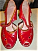 Click to view larger image of 1940's Red Leather Open toe Platform shoes (Image2)