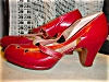 Click to view larger image of 1940's Red Leather Open toe Platform shoes (Image3)