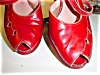 Click to view larger image of 1940's Red Leather Open toe Platform shoes (Image4)