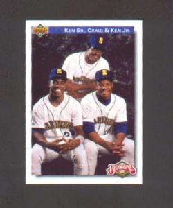 92 UPPER DECK FEATURES KEN JR, KEN SR., AND CRAIG GRIFFEY (Image1)