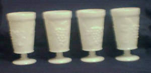4 Milk Glass Goblets