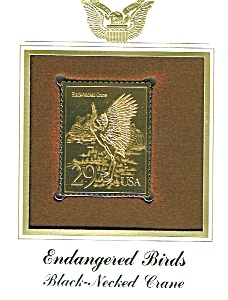 22kt Gold Black-Necked Crane Stamp (Image1)