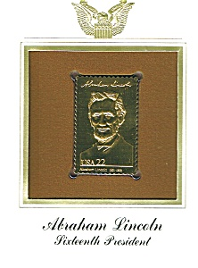 22kt Gold Foil Abraham Lincoln Stamp