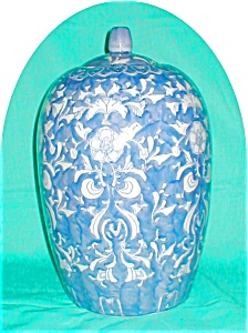 Blue & White Ceramic Oriental Ginger Jar (Image1)