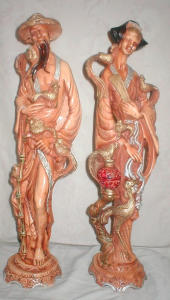 2 Oriental Carved Figurines (Image1)