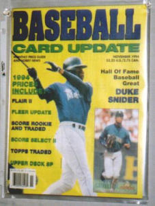 1994 BASEBALL UPDATE MONTHLY PRICE GUIDE (Image1)