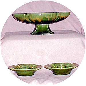 Haeger Green Bowl & Candle Stick Holders (Image1)