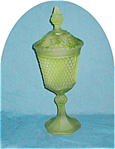 Tiara Green Satin Glass Compote
