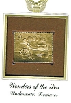 Click here to enlarge image and see more about item POCS1060: 22KT Gold Foil Underwater Treasures Stamp