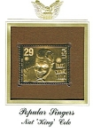 "Click here to enlarge image and see more about item POCS1074: 22kt Gold Foil Nat ""King"" Cole Stamp"