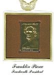22kt Gold Foil Franklin Pierce Stamp