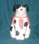 Click here to enlarge image and see more about item POCS137: Spotted Dog Ceramic Cookie Jar