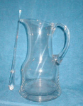 Click here to enlarge image and see more about item POCS174: Glass Pitcher/w Glass Stirrer