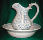 Click here to enlarge image and see more about item POCS191: Ornately Decorated Pitcher & Bowl Set