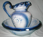 Click to view larger image of Large Flow Blue Pitcher and Basin (Image1)