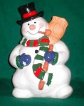 Click here to enlarge image and see more about item POCS250: Cooks Club Snowman Figural Cookie Jar