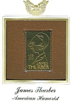 Click here to enlarge image and see more about item POCS365: James Thurber 22kt Gold Replica Stamp