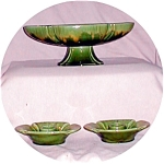 Haeger Green Bowl & Candle Stick Holders